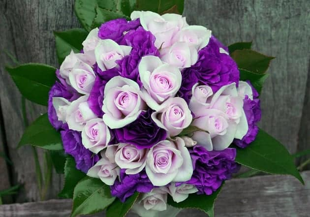 A bouquet of purple and pink flowers