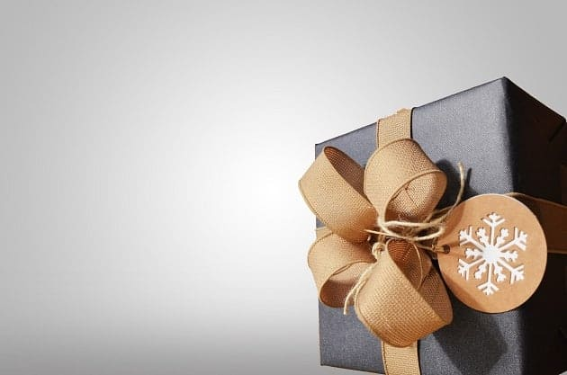 A gift with a ribbon on