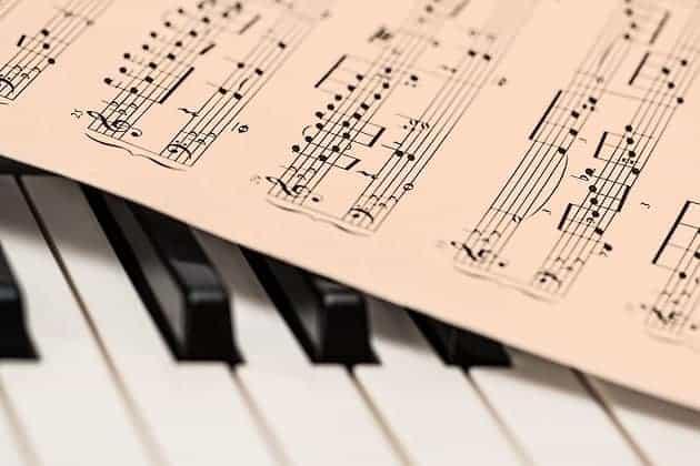 Sheet music and piano keys